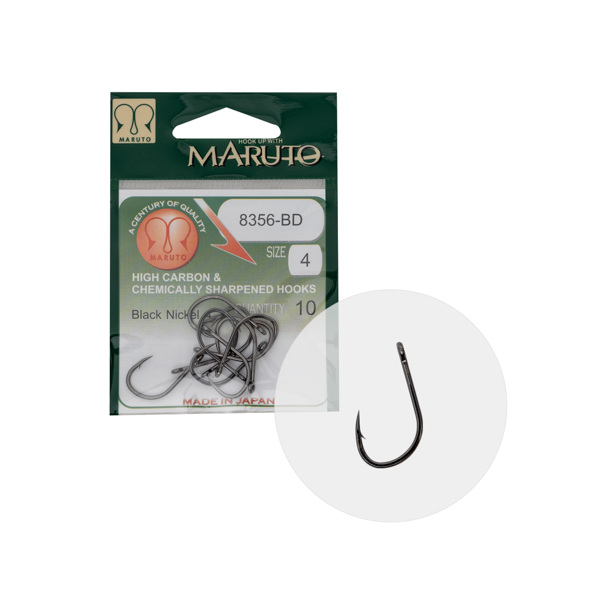 MARUTO HOROG 8356-BD CARP HOOKS BARBED FORGED STRAIGHT EYE HC  BLACK NICKEL 4